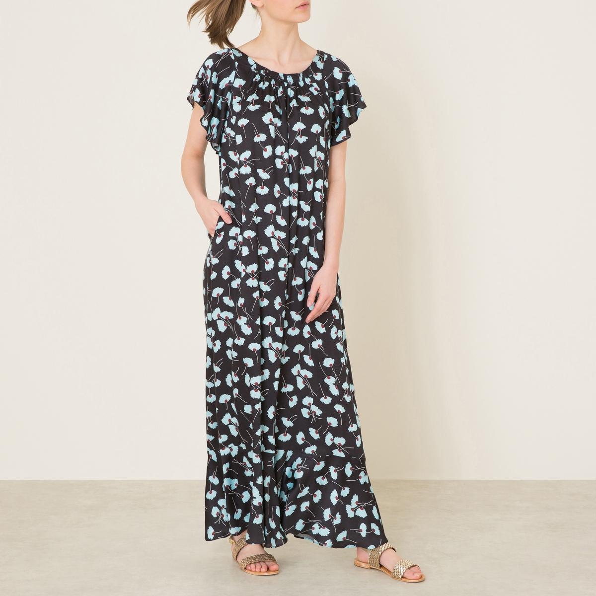 Платье GLAIEULДлинное платье PAUL AND JOE SISTER - модель GLAIEUL, цветочный рисунок, 100% вискоза. Круглый вырез с оборками. Рукава-бабочки. Воланы по низу.Состав и описание Материал : 100% вискозаДлина : 145 см. для размера 36Марка : PAUL AND JOE SISTER<br><br>Цвет: черный<br>Размер: 40 (FR) - 46 (RUS)