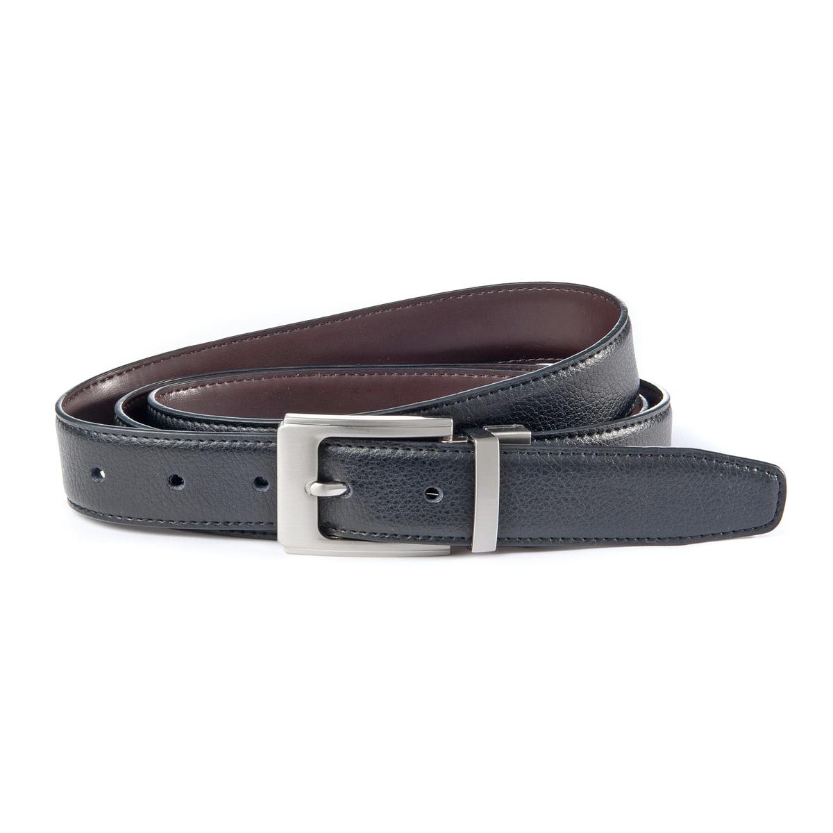 Ремень кожаный, двустороннийДвусторонний кожаный ремень : 1 черная сторона, 1 коричневая сторона, меняйте цвет одним движением !Материал : яловичная кожа. Застежка : реверсивная металлическая пряжкаШирина : 3,5 смОбхват талии в см<br><br>Цвет: каштановый / черный<br>Размер: 110/120 см