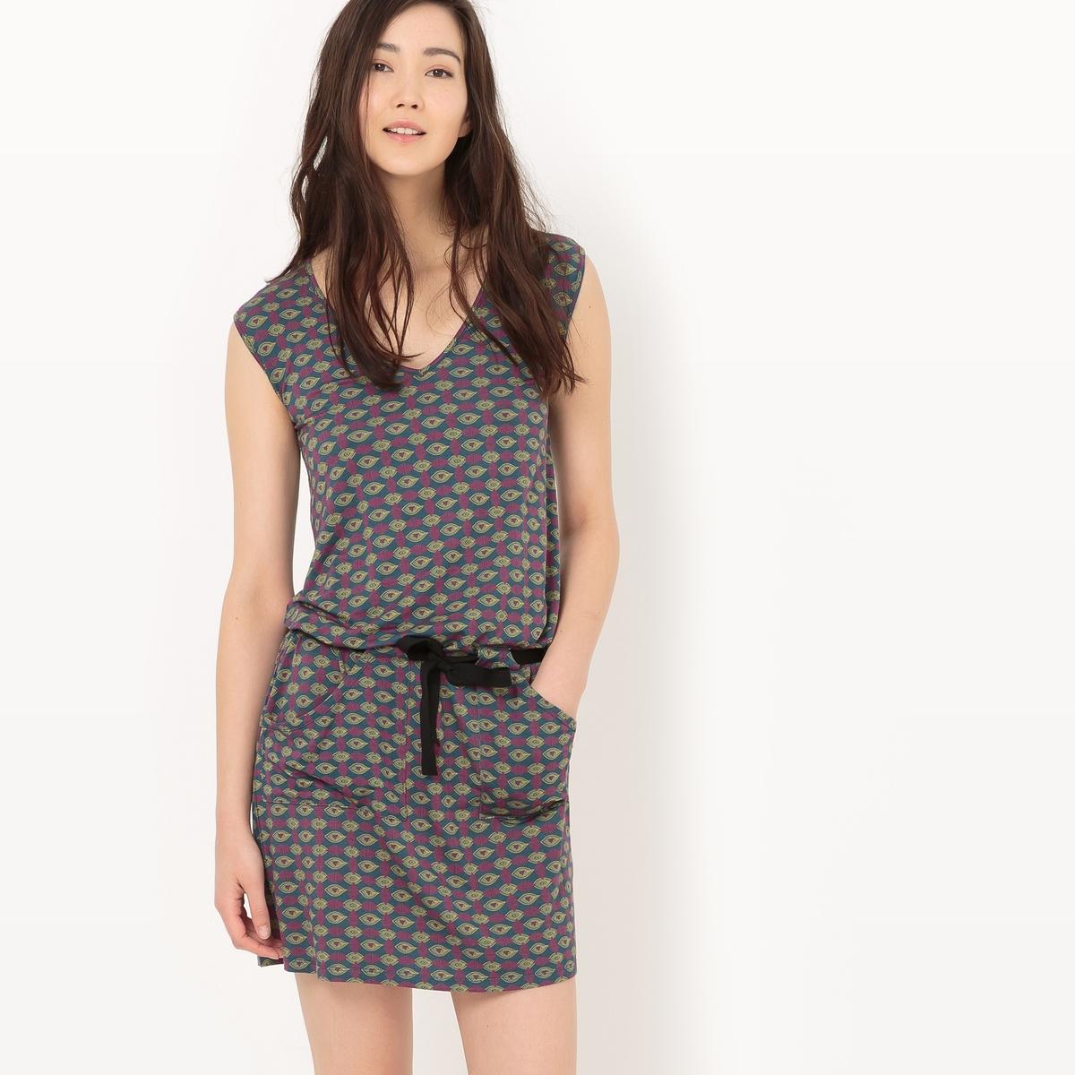 Платье с завязками и рисунком из трикотажа