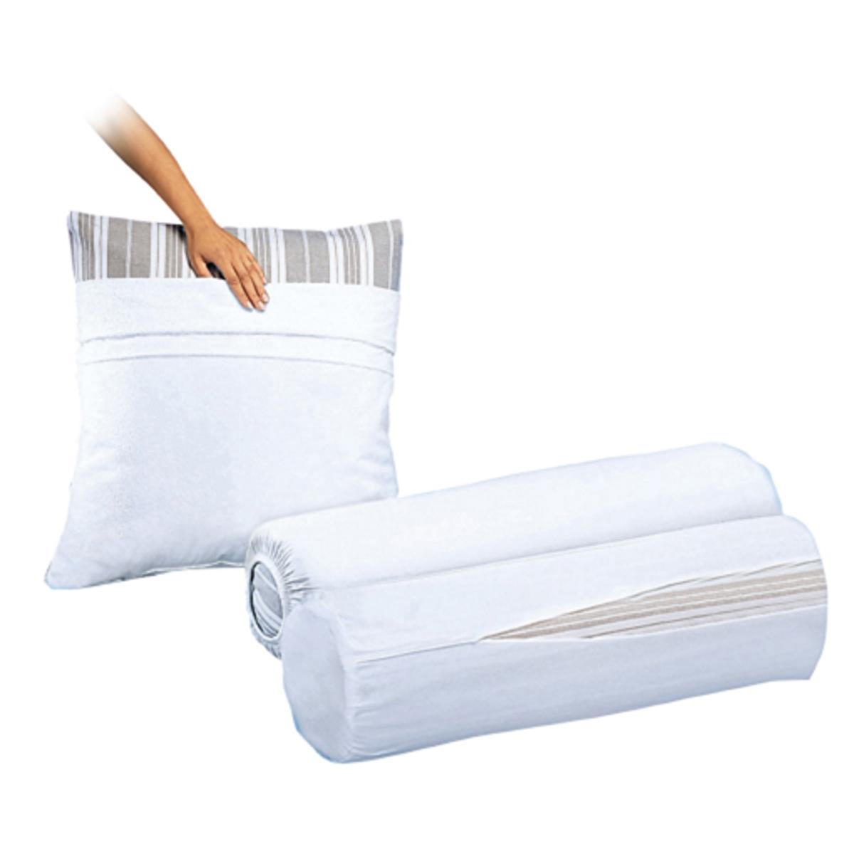 Комплект из 2 защитных чехлов на подушку-валик из джерси, 100% хлопок<br><br>Цвет: белый<br>Размер: длина: 90 см