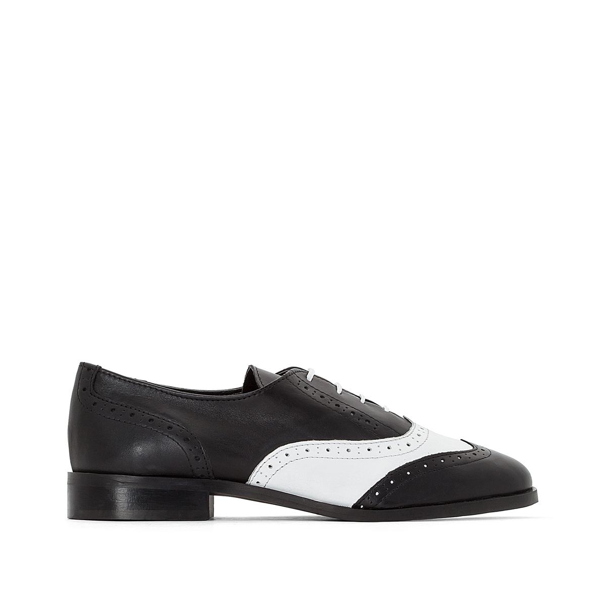 Ботинки-дерби кожаные двухцветные с мыском, как у обуви для гольфа