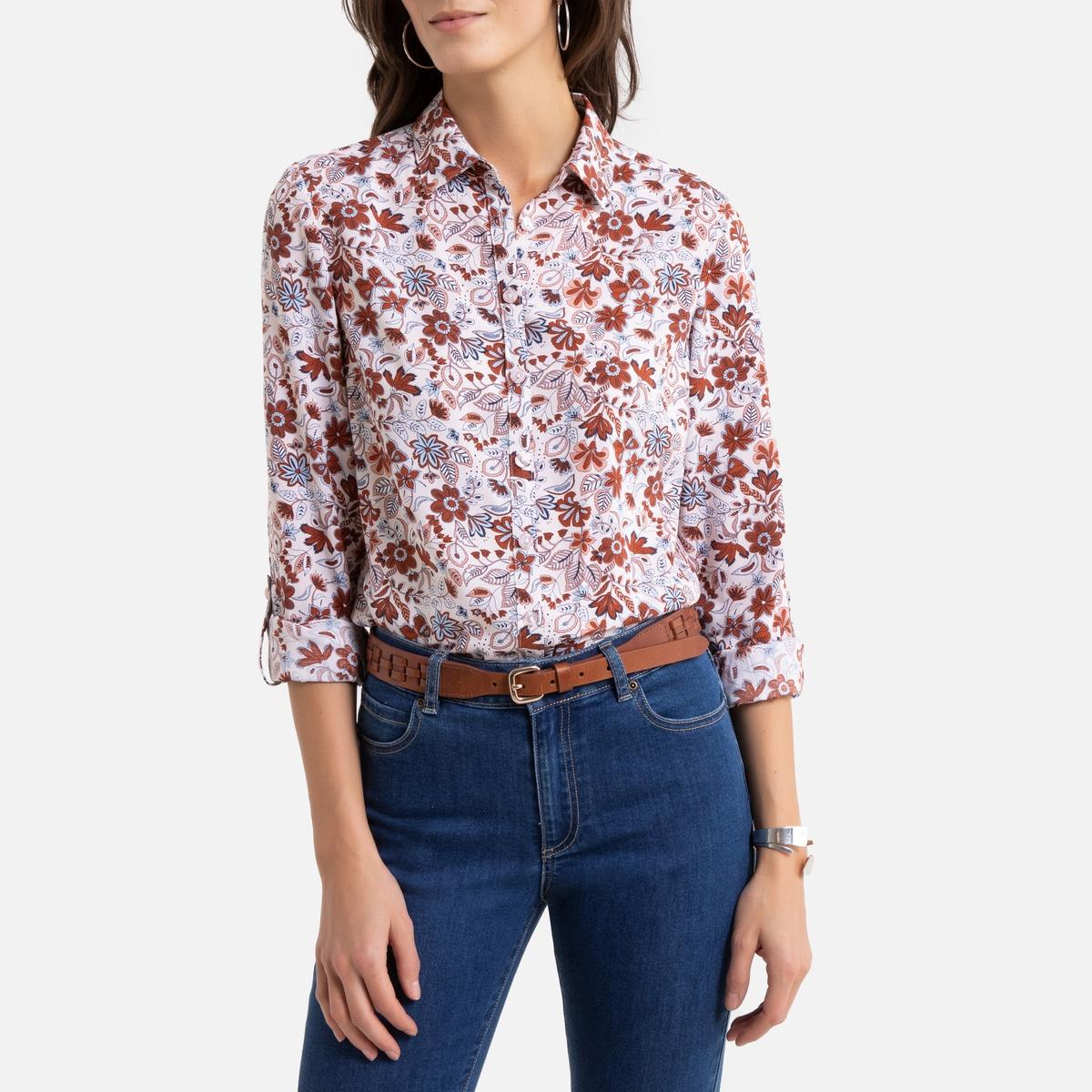 Блузка La Redoute С цветочным рисунком и длинными рукавами 52 (FR) - 58 (RUS) другие рубашка la redoute струящаяся с цветочным принтом и длинными рукавами 34 fr 40 rus фиолетовый
