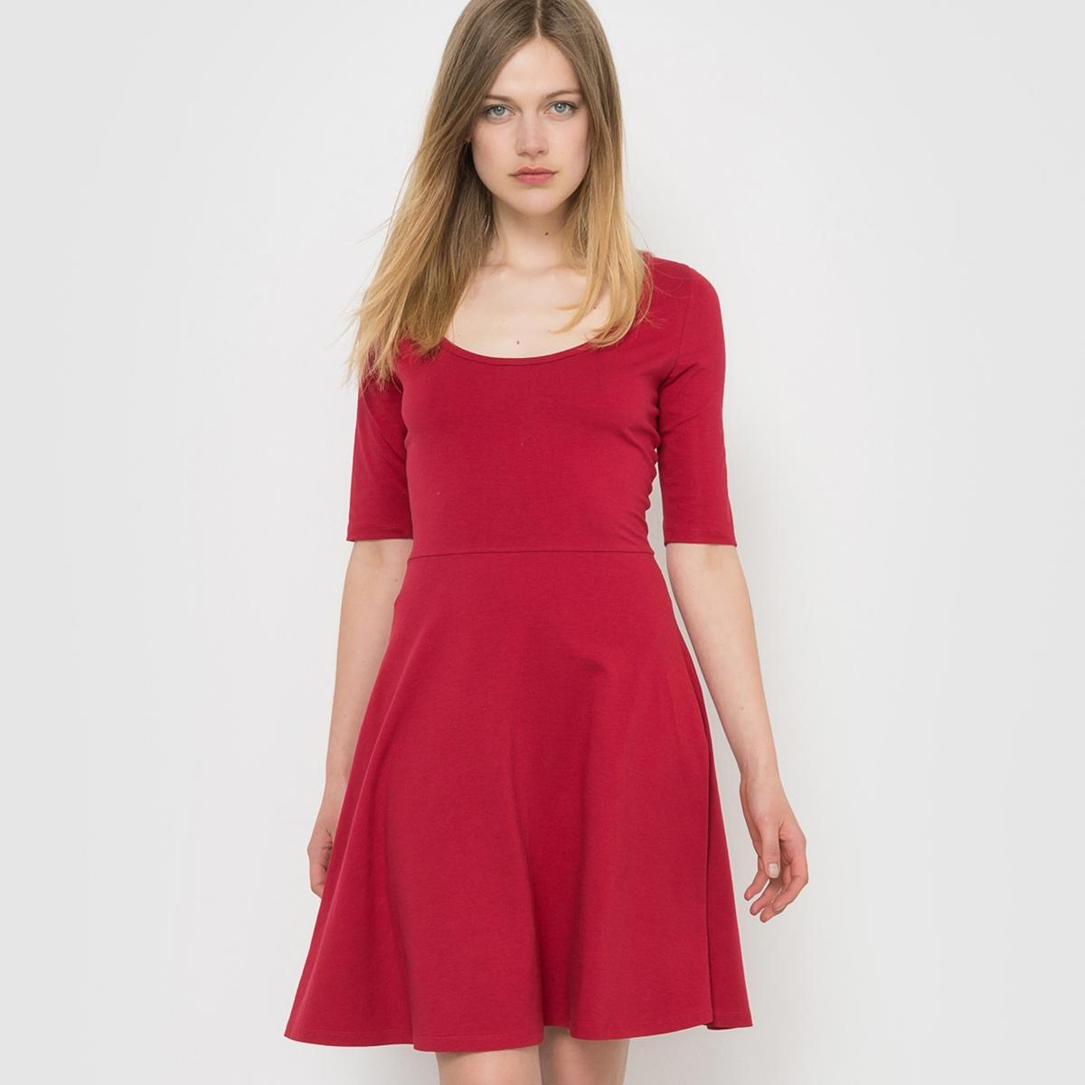 Платье трикотажное с рукавами 3/4Состав и описаниеМатериал: 95% хлопка, 5% эластана.Подкладка: -?Марка: R ?dition<br><br>Цвет: красный темный<br>Размер: 42/44 (FR) - 48/50 (RUS)