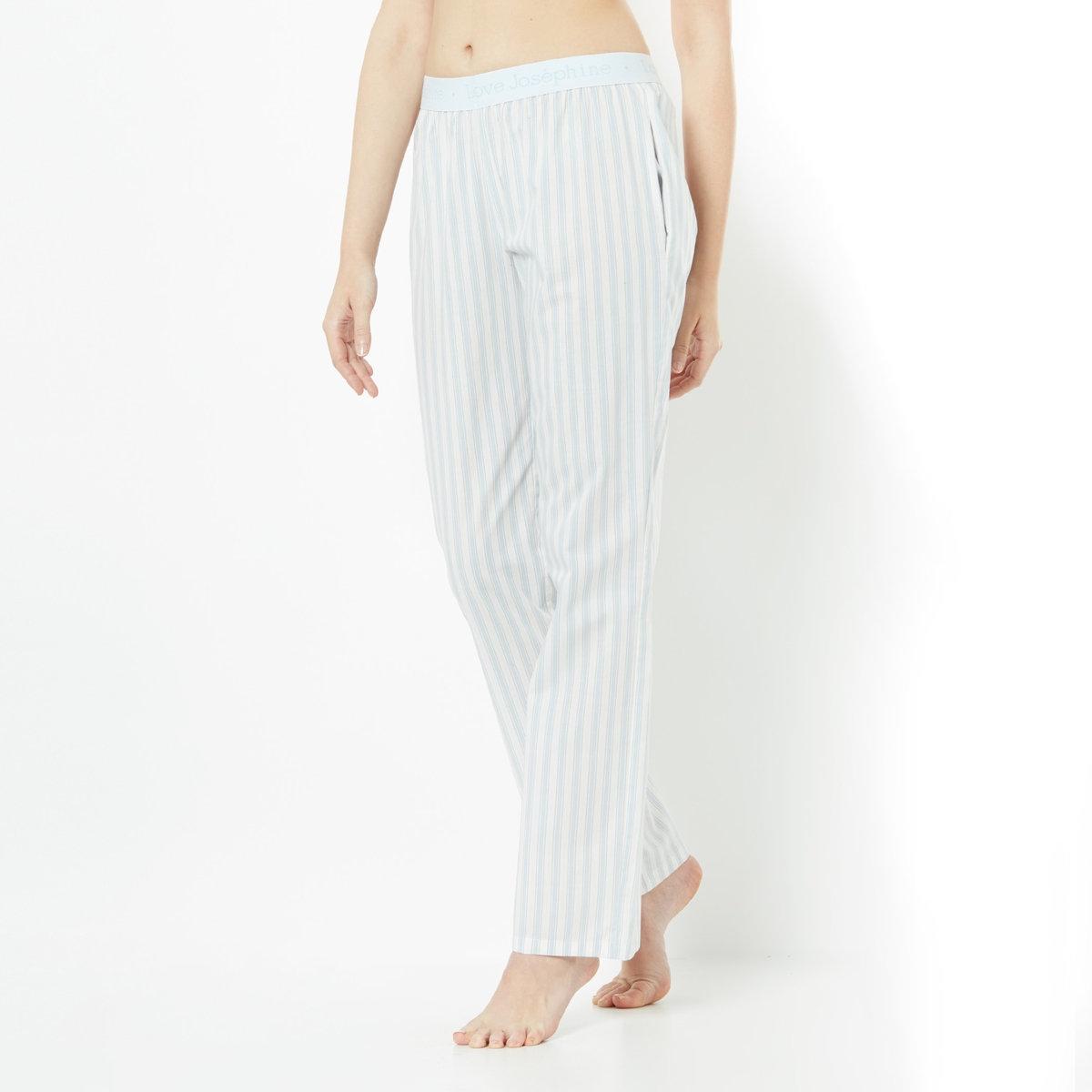 Брюки пижамныеНемного мужского стиля в женском гардеробе! Брюки, прямой покрой, 100% хлопок. Эластичный пояс. 2 кармана по бокам. Длина 76 см. Машинная стирка при 30°.<br><br>Цвет: белый в полоску