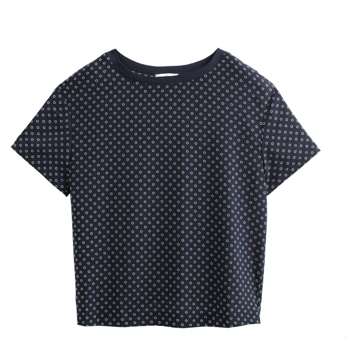Blusa con cuello redondo estampado de lunares, de manga corta