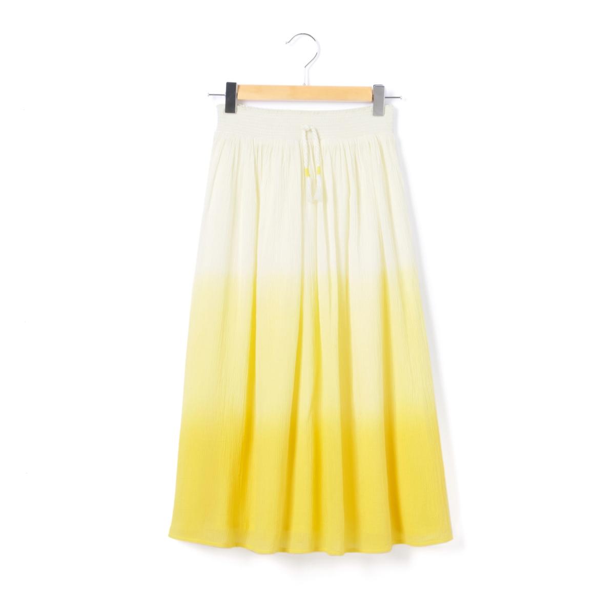 Платье короткое с рисунком, расширяющееся к низуДетали •  Форма : расклешенная •  Укороченная модель  •  Рисунок-принт •  Эластичный поясСостав и уход •  100% хлопок •  Следуйте советам по уходу, указанным на этикетке<br><br>Цвет: желтый<br>Размер: 10 лет - 138 см