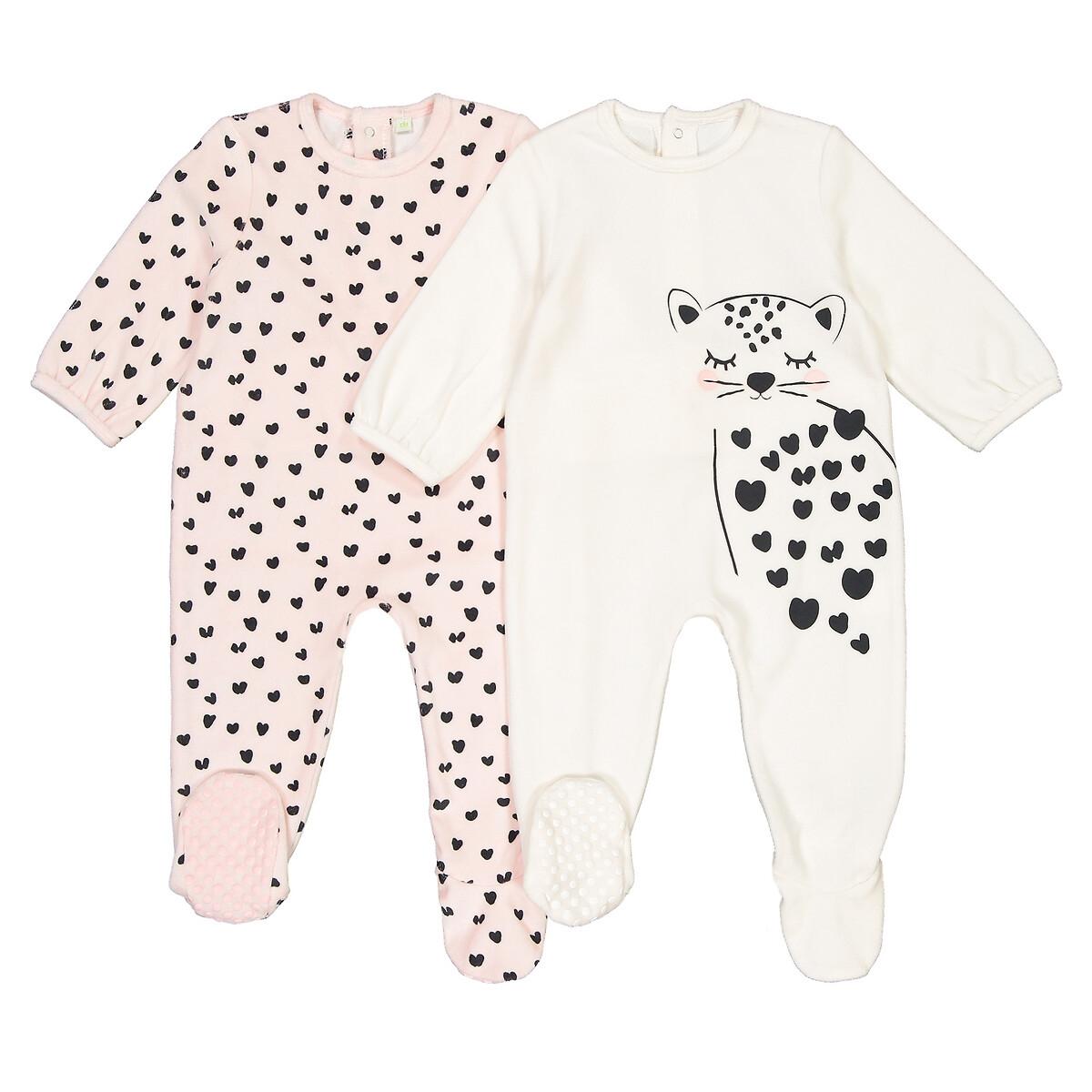 2 пижамы LaRedoute Слитные из велюра 0 мес-3 лет 3 мес. - 60 см розовый