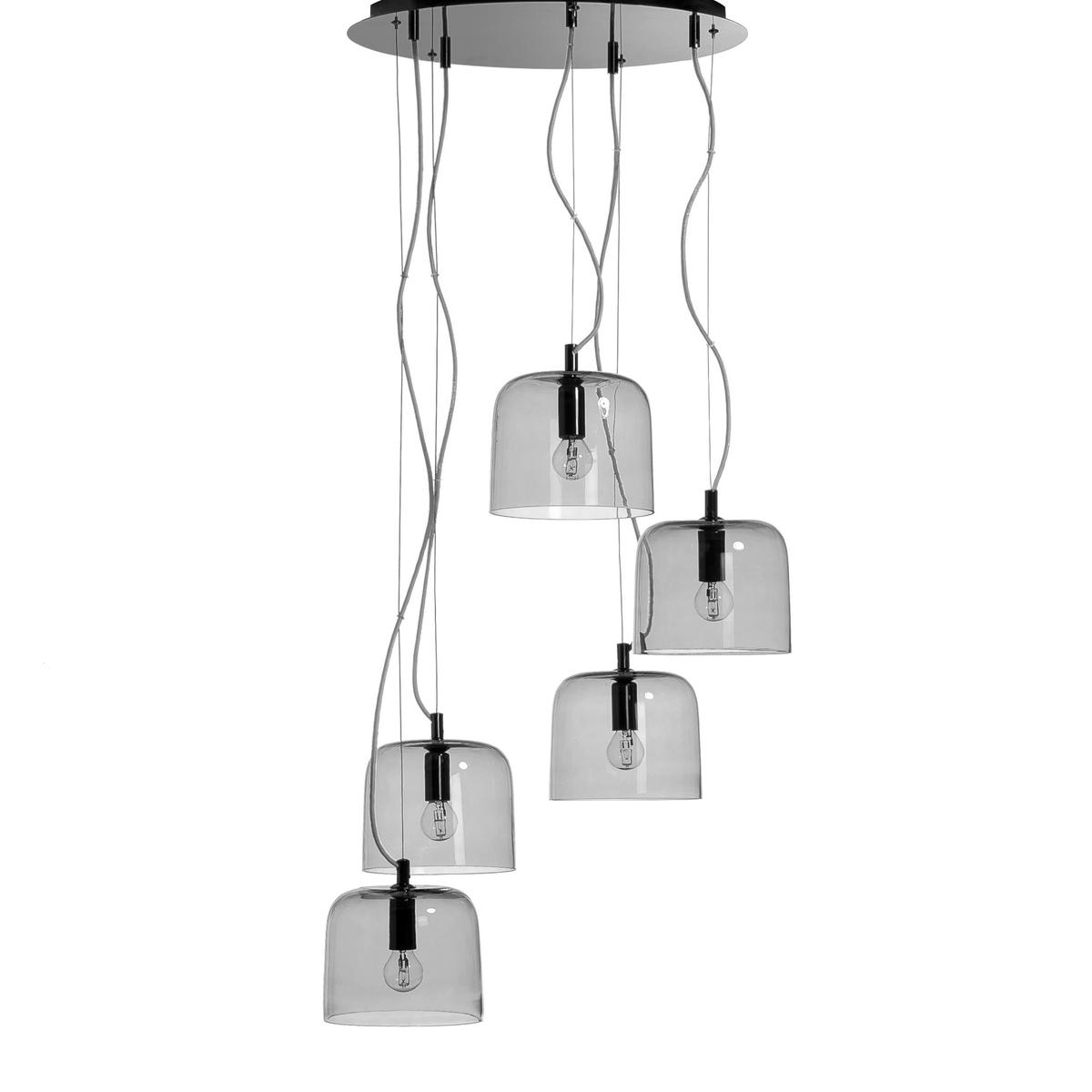 Люстра Zella с 5 абажурами, дизайн Э. ГаллиныКабель с оболочкой из текстиля цвета антрацит длиной 20-130 см.Металлический кронштейн с 5 патронами E14 для лампы макс. 40 Вт (продается отдельно) и чаша.Совместима с лампами класса энергопотребления A, B, C, D et E.<br><br>Цвет: серый