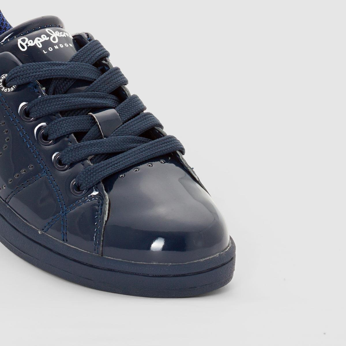 Кеды кожаные LaneПодкладка : ТекстильСтелька: ТекстильПодошва: КаучукФорма каблука : Плоский каблук   Носок : КруглыйЗастежка : Шнуровка<br><br>Цвет: темно-синий<br>Размер: 33.39