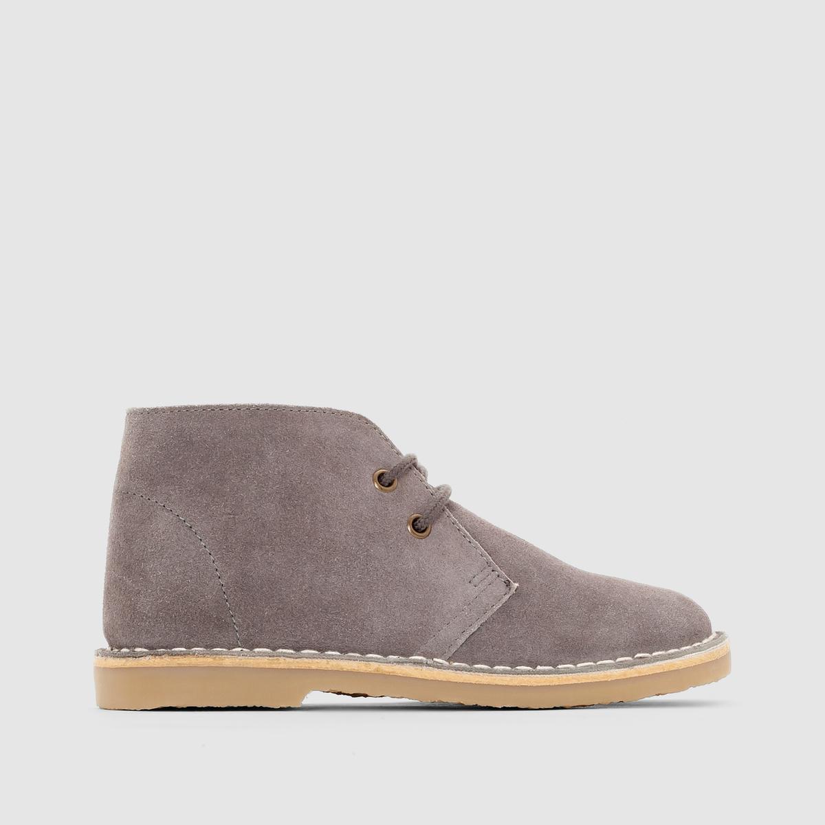 Ботинки кожаные на шнуровкеВерх : невыделанная кожа (яловичная)    Подкладка : текстиль   Стелька : кожа   Подошва : эластомер   Застежка : шнуровка<br><br>Цвет: серый<br>Размер: 39.32.36