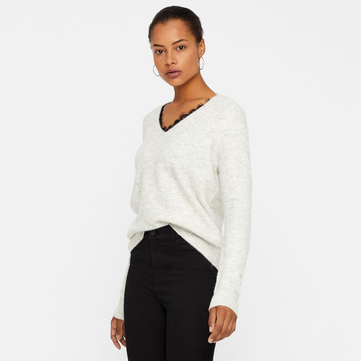 Пуловер La Redoute С V-образным вырезом с кружевом L серый комбинезон la redoute с брюками с v образным вырезом и отделкой кружевом l черный
