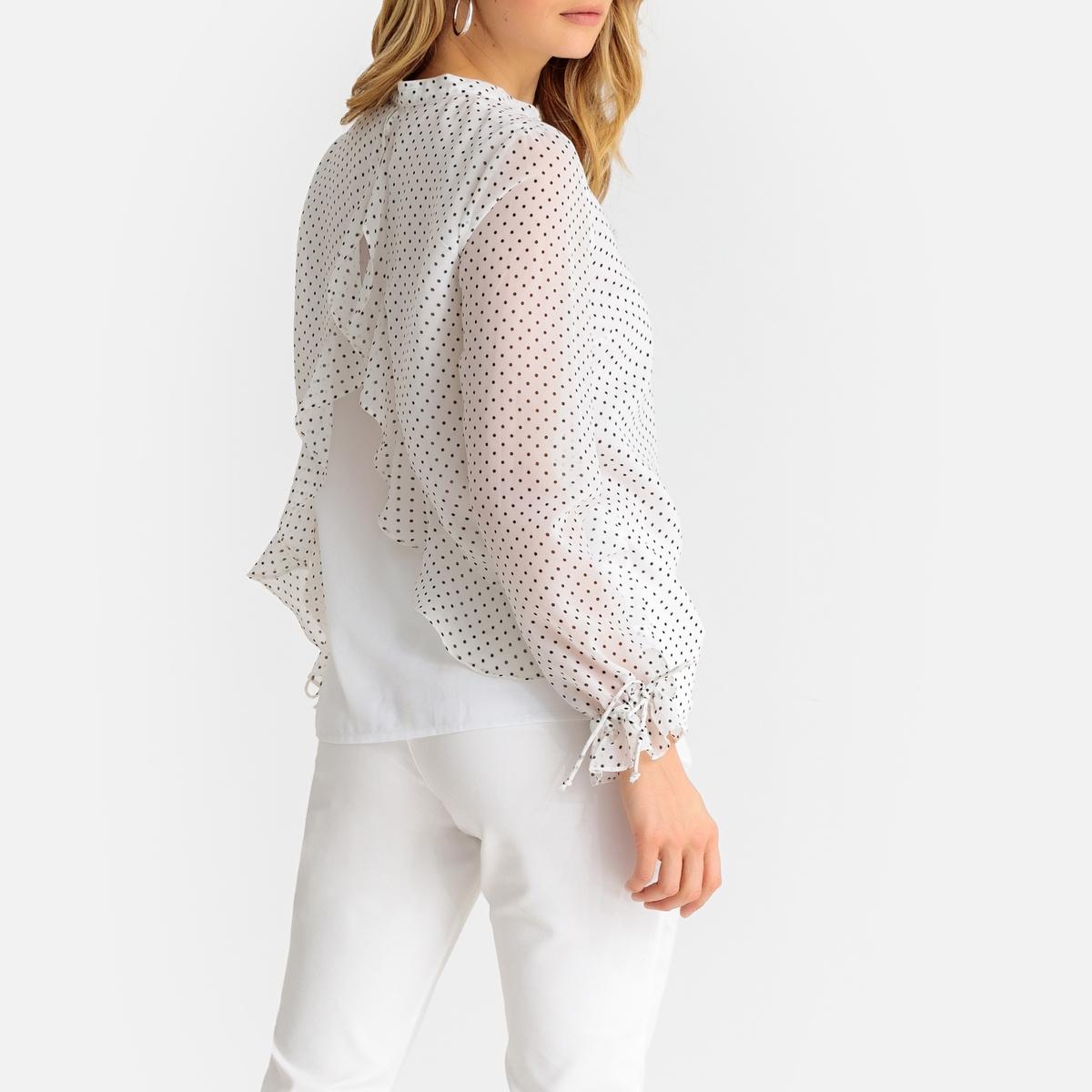 Блузка La Redoute С круглым вырезом с разрезом спереди рисунком в горошек и длинными рукавами 48 (FR) - 54 (RUS) белый цена