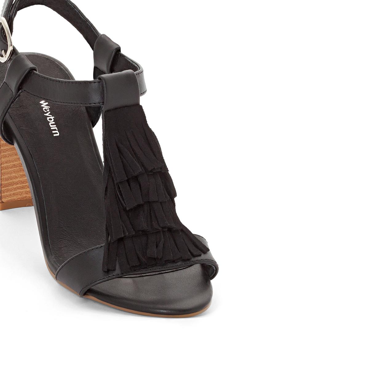 Босоножки кожаные с бахромой<br><br>Цвет: каштановый,черный<br>Размер: 41.37.38.37.39
