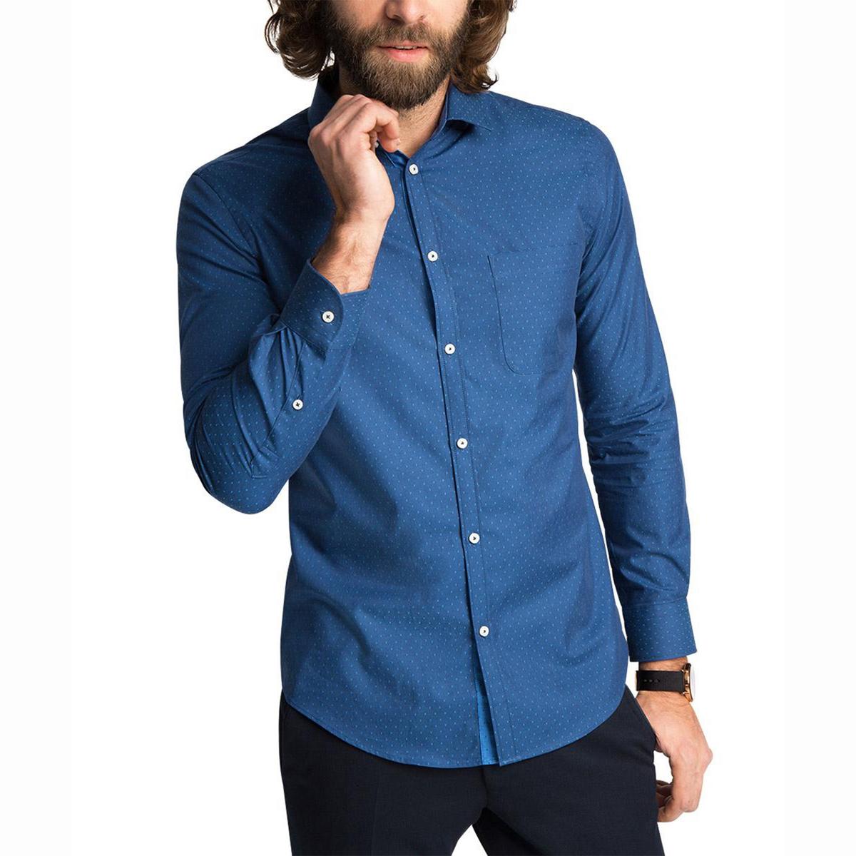 Рубашка с рисунком с длинными рукавами, 100% хлопка<br><br>Цвет: темно-синий<br>Размер: 45/46.43/44