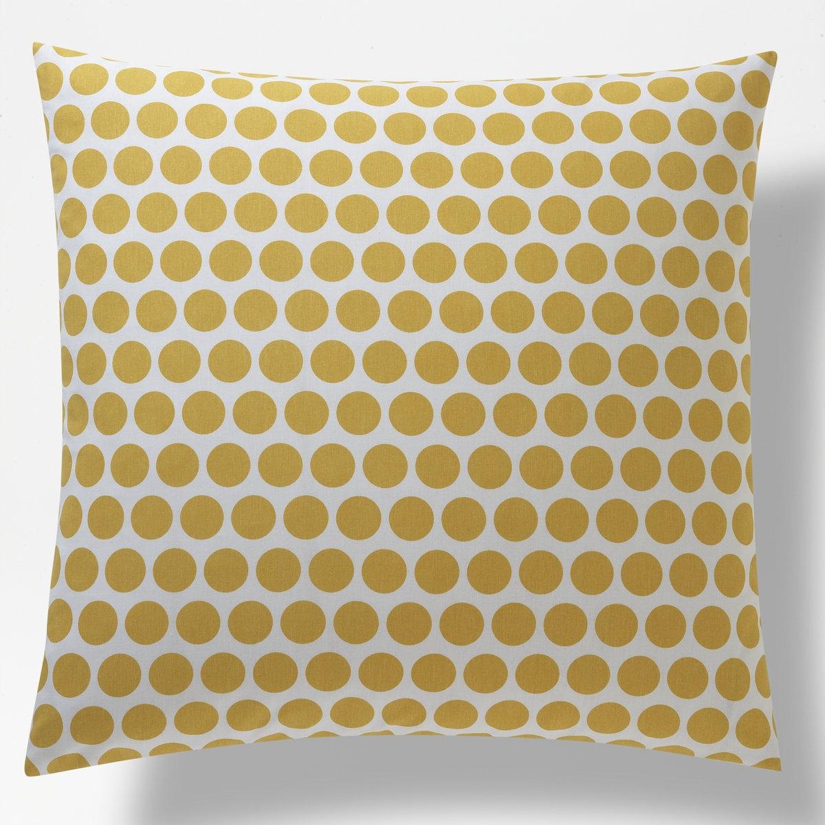 Наволочка с рисунком для девочек CHAT CUTEРазмеры: 63 x 63 см: квадратная наволочка. Цвет: с лицевой стороны принт в крупный горошек горчичного цвета на белом фоне. С изнаночной стороны: принт в мелкий горошек горчичного цвета на белом фоне.Размеры: 63 x 63 см.<br><br>Цвет: белый/ желтый