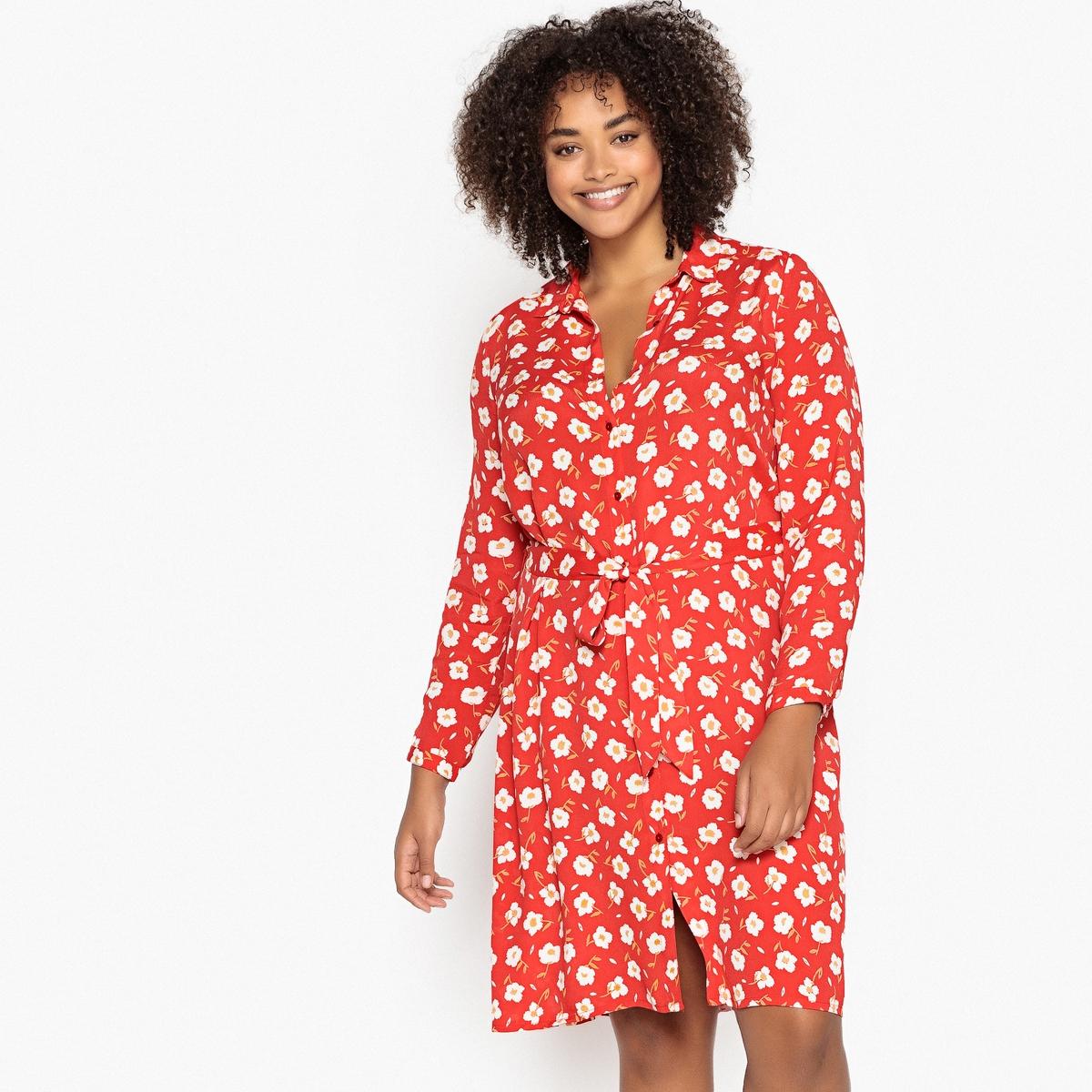 Платье-рубашка прямое средней длины с цветочным рисунком рубашка прямая большого размера в клетку