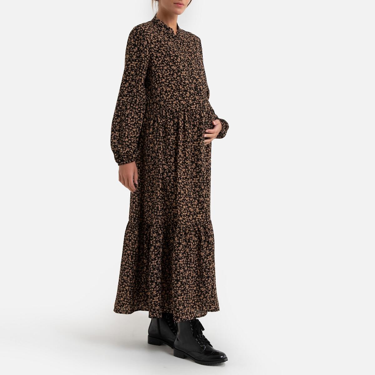 Платье LaRedoute Для периода беременности длинное с цветочным принтом 36 (FR) - 42 (RUS) разноцветный
