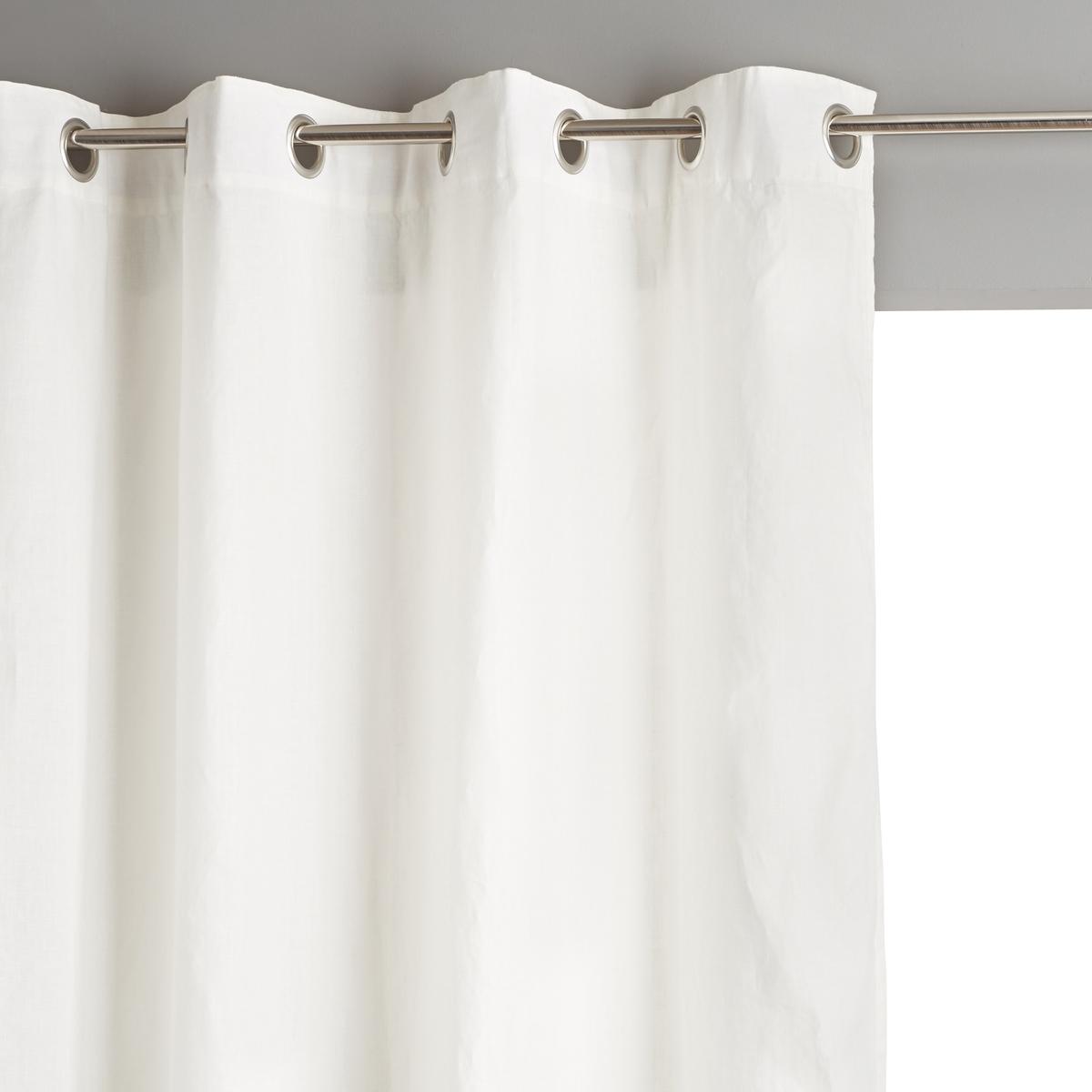 Штора LaRedoute Из льна с металлическими люверсами Private 140 x 260 см белый скатерть laredoute из льна linette 180 x 350 см белый