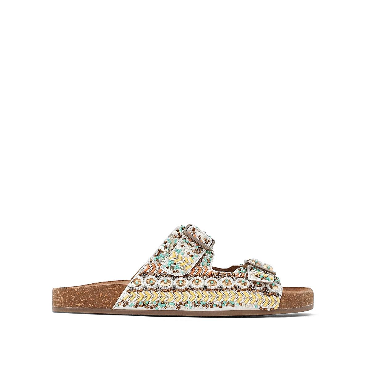 Туфли La Redoute Без задника с искусственным жемчугом 36 белый туфли без задника кожаные с блестящими деталями