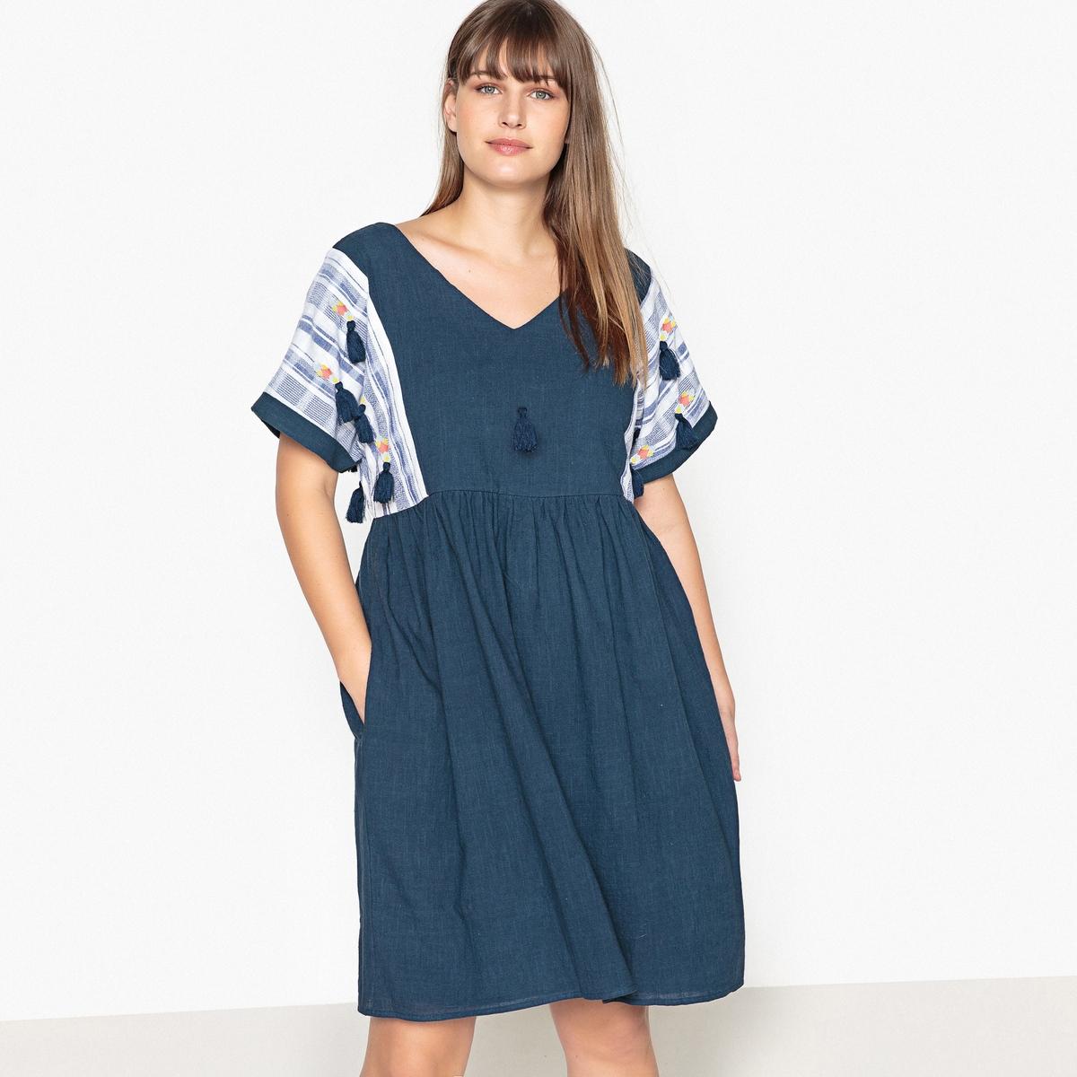 Платье короткое расклешенное однотонное с короткими рукавами однотонное одеяло из 100% хлопка kumla