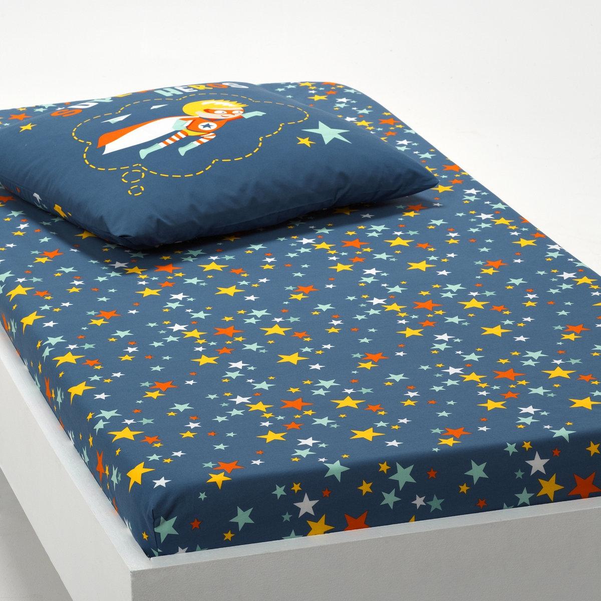 цена Натяжная простыня La Redoute С рисунком Super Hros 90 x 190 см синий онлайн в 2017 году
