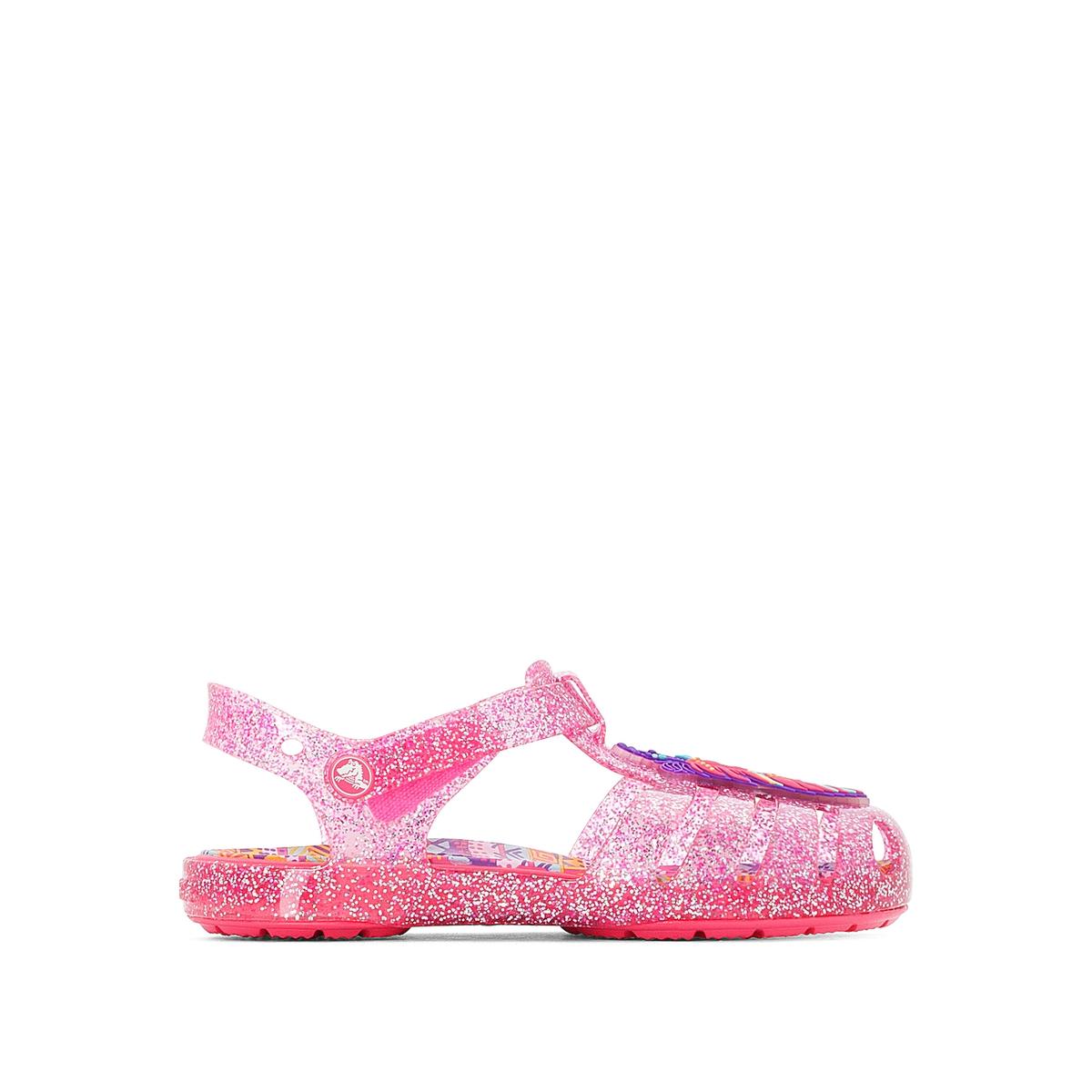 Босоножки Crocs Isabella Novelty SandalОписание:Детали •  Плоский каблук •  Высота каблука : 2 см •  Застежка : планка-велкро •  Открытый мысок •  Гладкая отделкаСостав и уход •  Верх/Голенище : 100% синтетический материал •  Подошва : 100% синтетический материал<br><br>Цвет: розовый