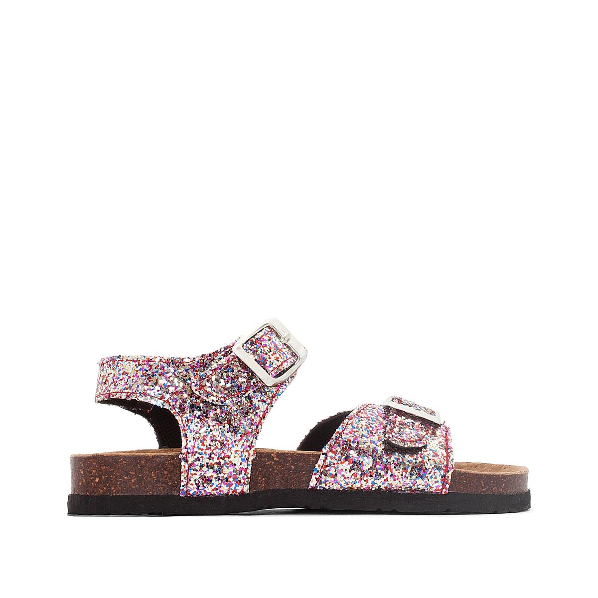 Сандалии из синтетикиОписание:Детали   •  Плоский каблук •  Застежка : ремешок/пряжка •  Открытый мысокСостав и уход   •  Верх 100% кожа •  Подкладка 100% кожа<br><br>Цвет: разноцветный,розовый
