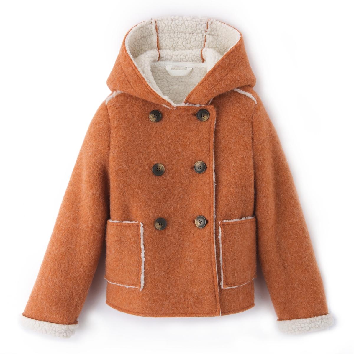 Пальто с капюшоном на подкладке, 3-12 лет
