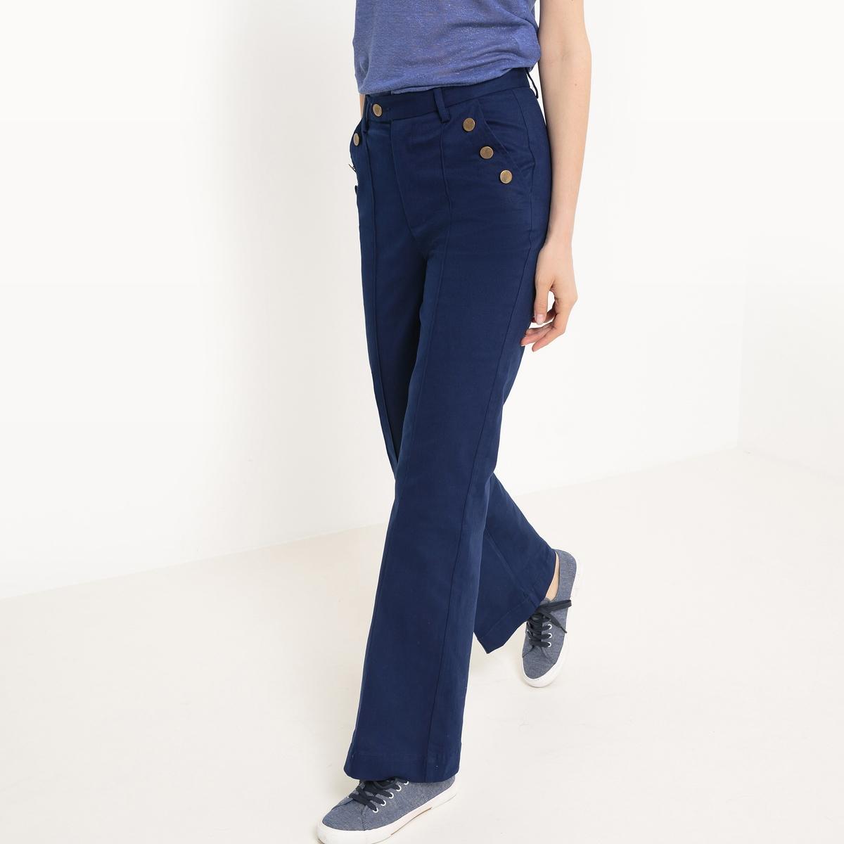 Брюки базового гардероба, свободного, широкого покроя, однотонныеМатериал : 98% хлопка, 2% эластана Рисунок : однотонная модель  Высота пояса : стандартная Покрой брюк : свободный, широкий<br><br>Цвет: синий