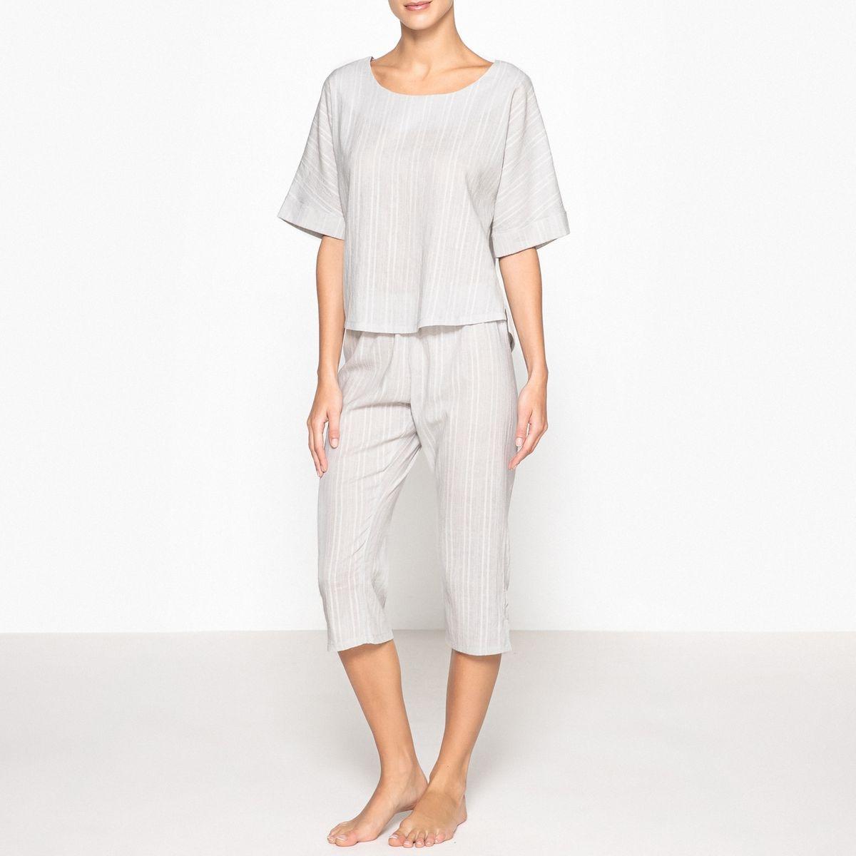 Pyjama court, détails brodés