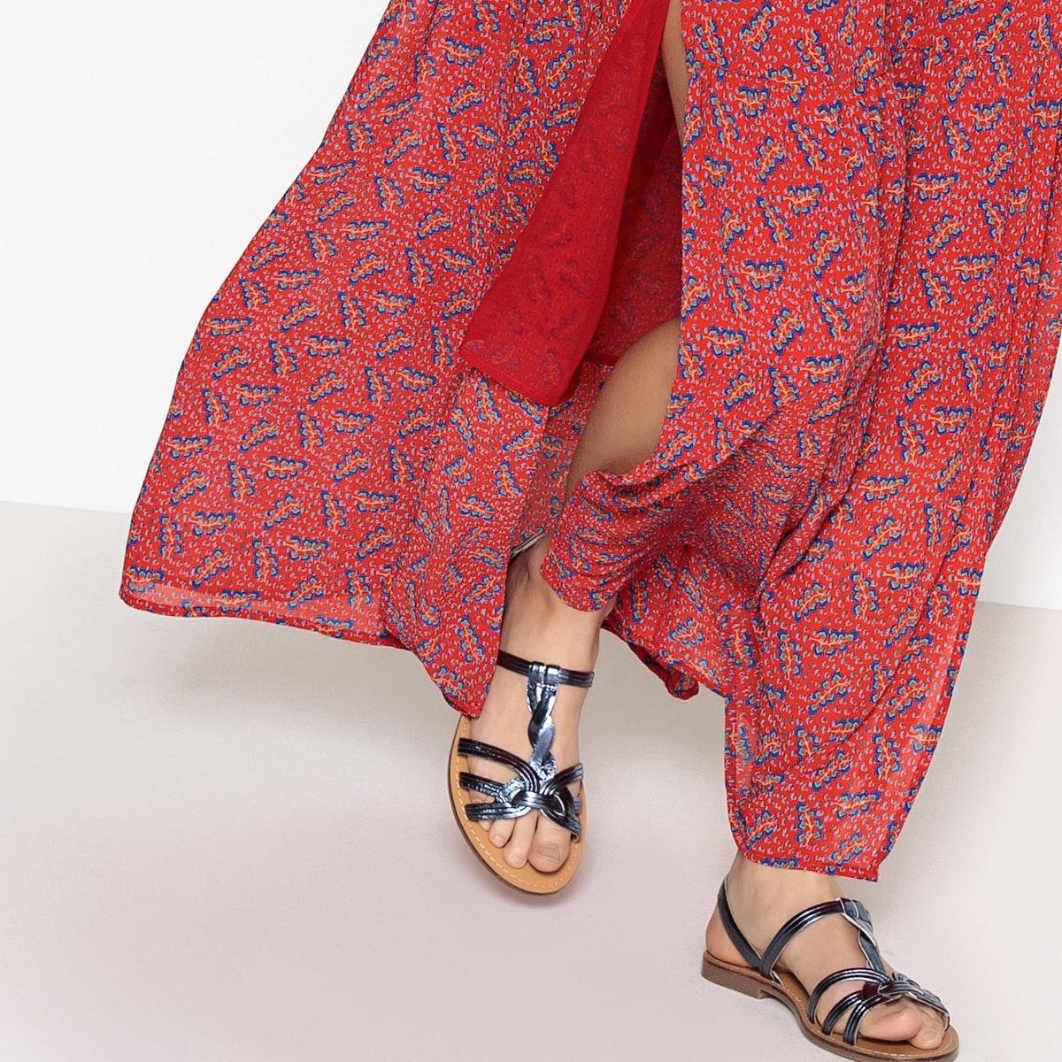 Sandalias de piel metalizada con correa trenzada