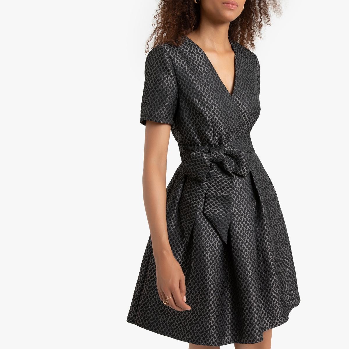Платье La Redoute Короткое коктейльное с короткими рукавами V-образный вырез XS серый