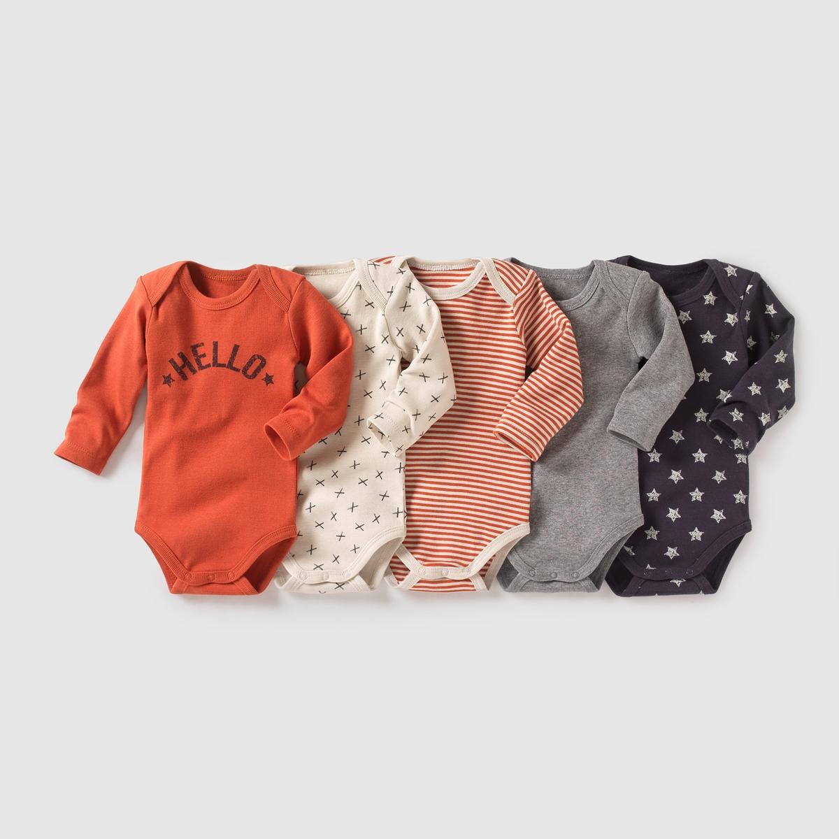 Комплект из 5 боди с длинными рукавами на возраст от 0 месяцев до 3 лет