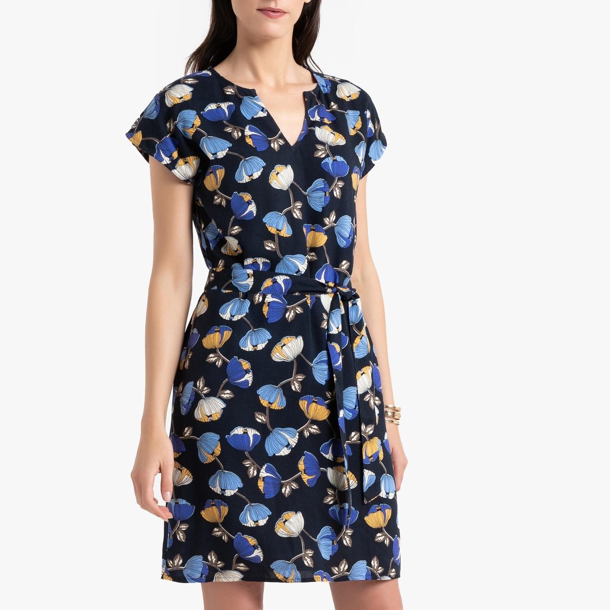 Платье La Redoute Прямое с цветочным рисунком 48 (FR) - 54 (RUS) синий брюки la redoute веретенообразные из струящейся ткани 48 fr 54 rus синий