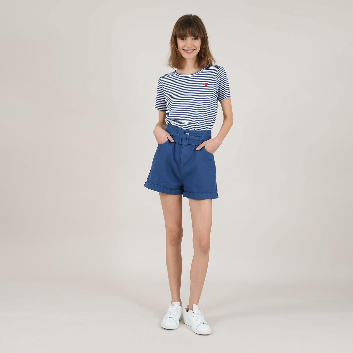 цена Шорты La Redoute С отворотами с ремешком и двумя карманами XL синий онлайн в 2017 году