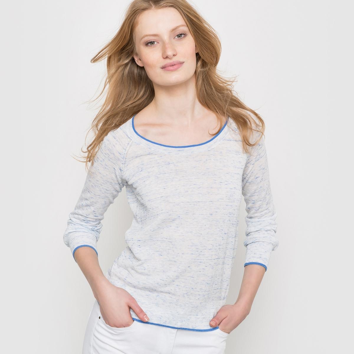 Пуловер из тонкого меланжевого трикотажаПуловер из тонкого меланжевого трикотажа . Длинные рукава, круглый свободный вырез. Края выреза, рукавов и низа связаны в рубчик с тонкой контрастной линией   .Состав и описаниеМатериал : 56% хлопка, 44% полиамида длина : 60 смУход Машинная стирка при 30 °С<br><br>Цвет: экрю<br>Размер: 42/44 (FR) - 48/50 (RUS)