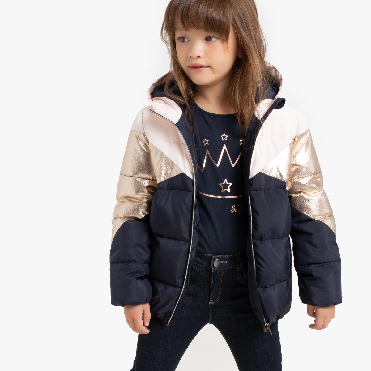 Куртка La Redoute Стеганая с капюшоном укороченная трехцветная 12 лет -150 см золотистый куртка укороченная blugirl