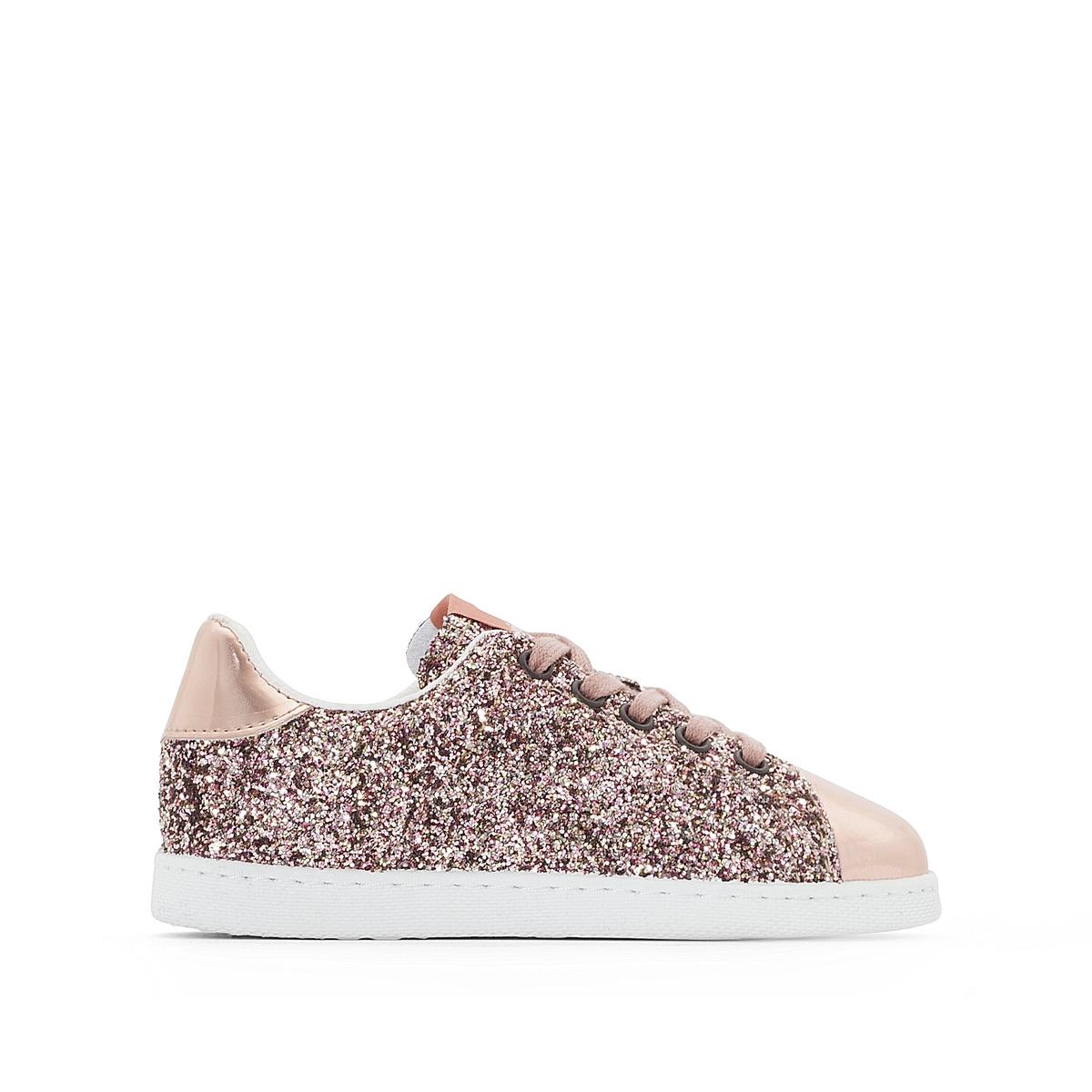 Кеды Deportivo GlitterДетали •  Спортивный стиль. •  Плоский каблук. •  Застежка: шнуровка.Состав и уход •  Верх: 100% синтетический материал. •  Подкладка: 100% текстиль. •  Стелька: 100% текстиль. •  Подошва: 100% каучук.<br><br>Цвет: розовый