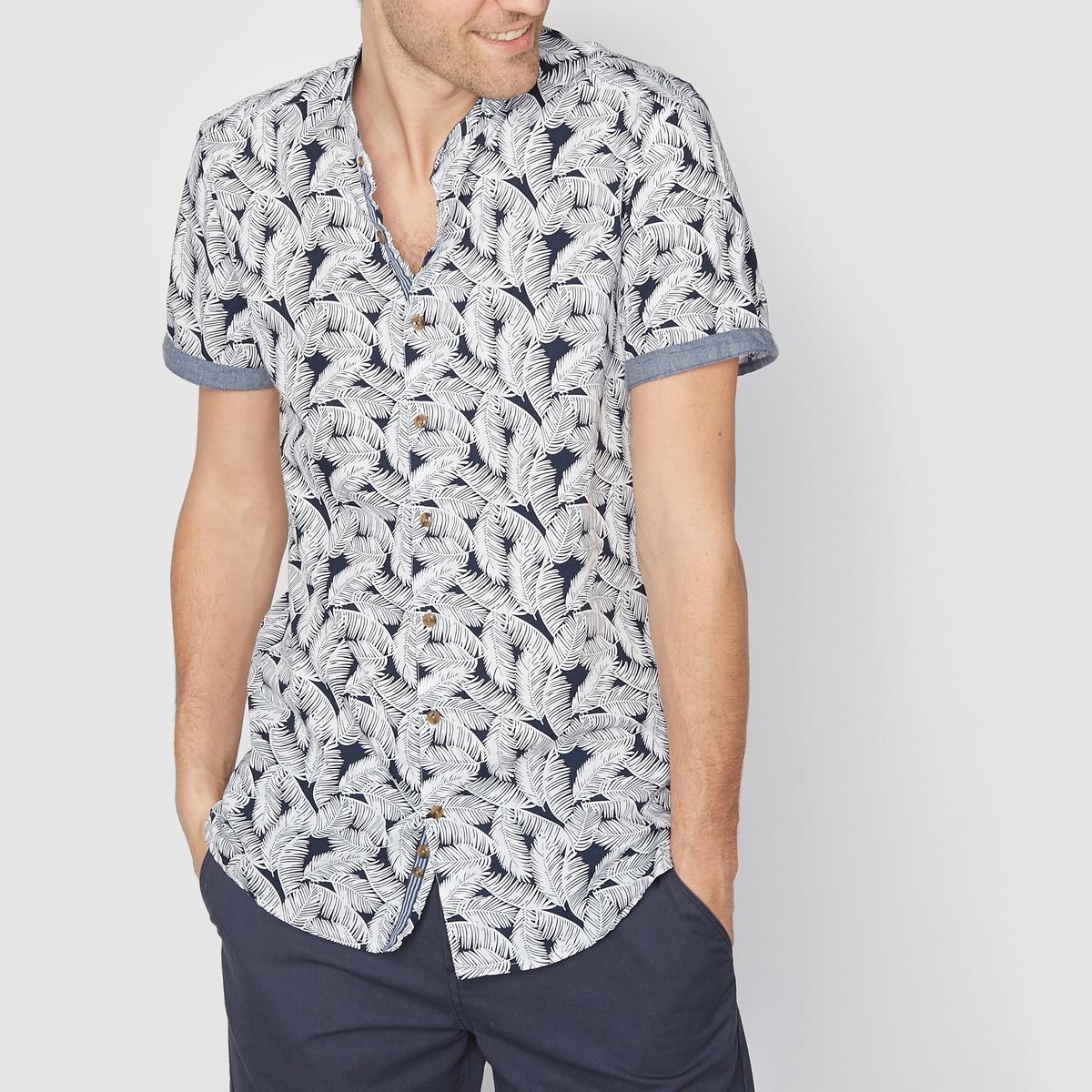 Рубашка с рисунком и воротником-стойкойСостав и описаниеМатериал :  100% хлопка.Марка : SOFT GREY.<br><br>Цвет: белый наб.рисунок<br>Размер: 39/40
