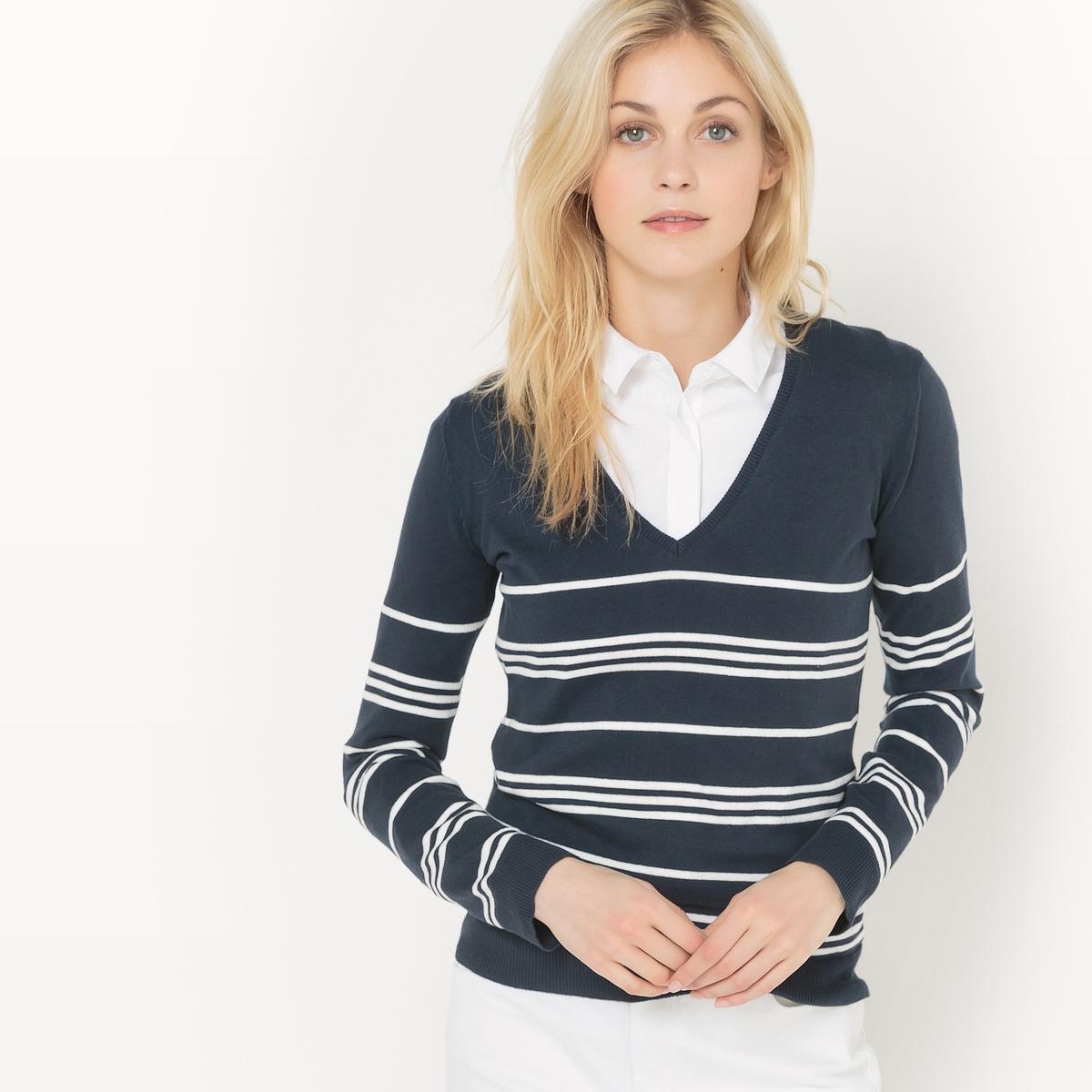 Пуловер с V-образным вырезом из хлопка