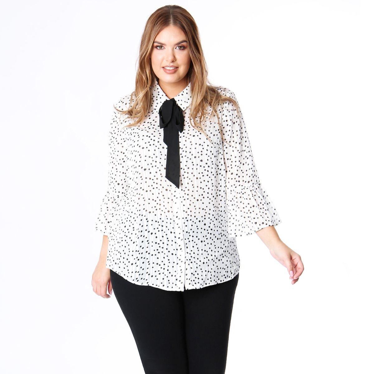 Tunique col chemise, imprimé, manches courtes