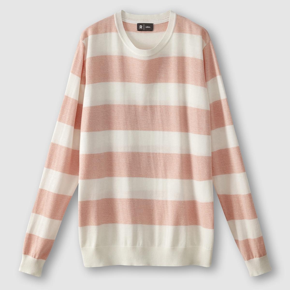 Пуловер в полоску, с круглым вырезом, 100% хлопка, LES PETITS PRIX от La Redoute Collections