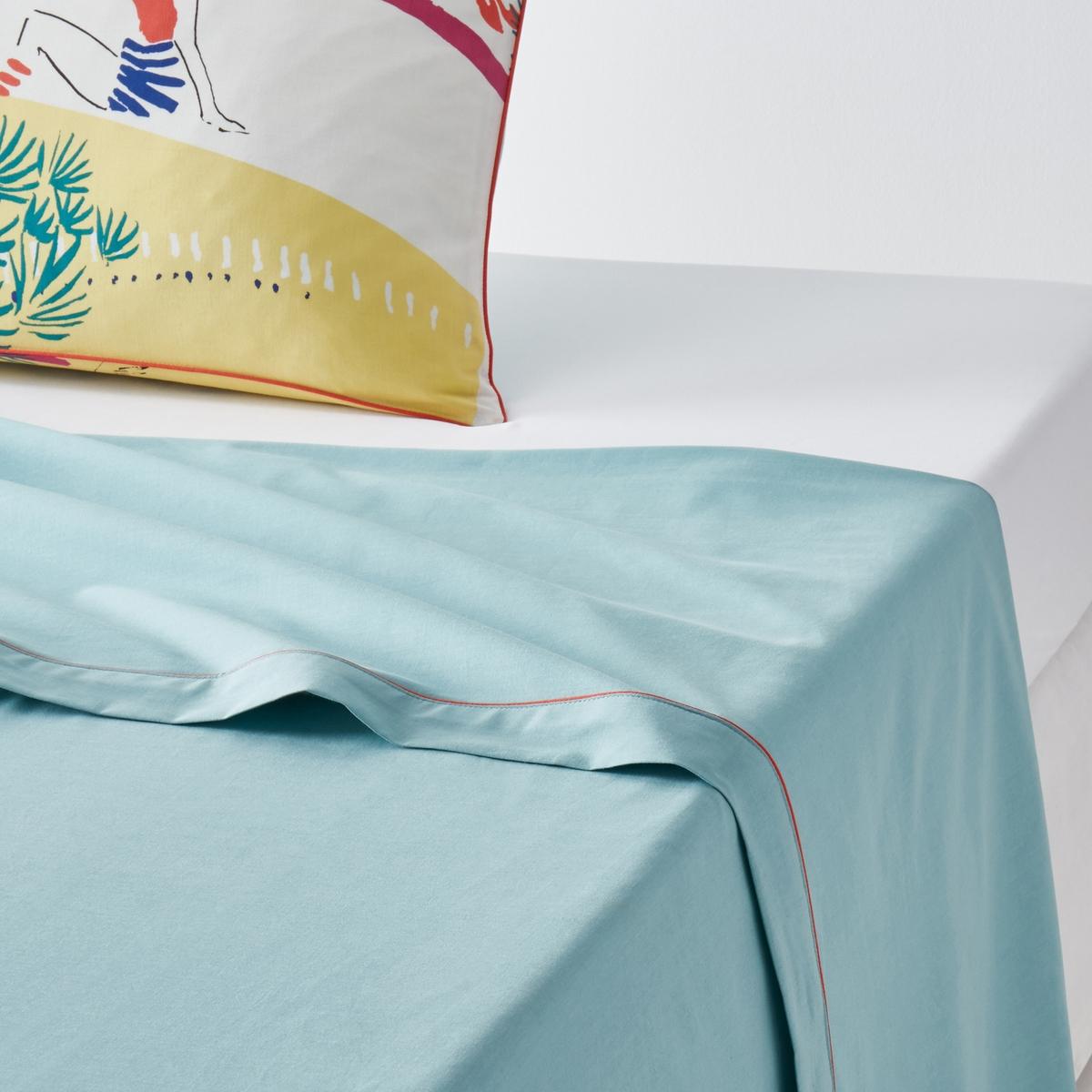 Простыня гладкая с рисунком, PaleissaГладкая простыня с рисунком Paleissa. Яркие цвета и стилизованные мотивы постельного белья Paleissa придают одновременно праздничный и винтажный внешний вид. Характеристики простыни с рисунком Paleissa :Простыня : однотонный сине-зеленый цвет.100% хлопок, 57 нитей/см? : чем больше нитей/см?, тем выше качество ткани.Отделка клапана кантом красного цвета.Машинная стирка при 60 °С.Найдите натяжную простыню из гаммы Sc?nario coton и всю коллекцию Paleissa на сайте  laredoute .ruЗнак Oeko-Tex® гарантирует, что товары прошли проверку и были изготовлены без применения вредных для здоровья человека веществ.Размеры :180 x 290 см : 1-сп240 х 290 см : 2-сп.270 x 290 см : 2-сп.<br><br>Цвет: рисунок желтый/синий