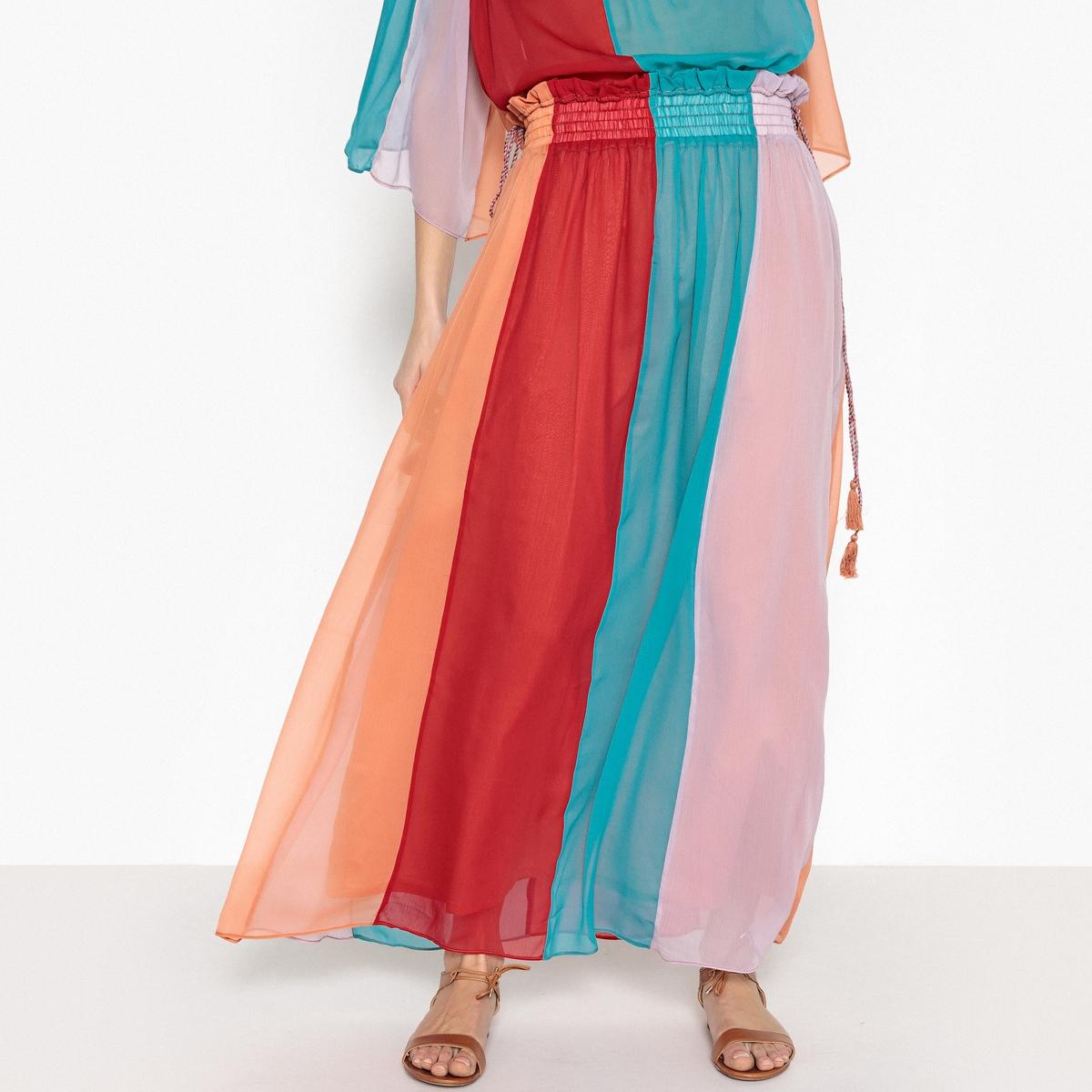Юбка длинная в полоску из разноцветной вуали ANAIS