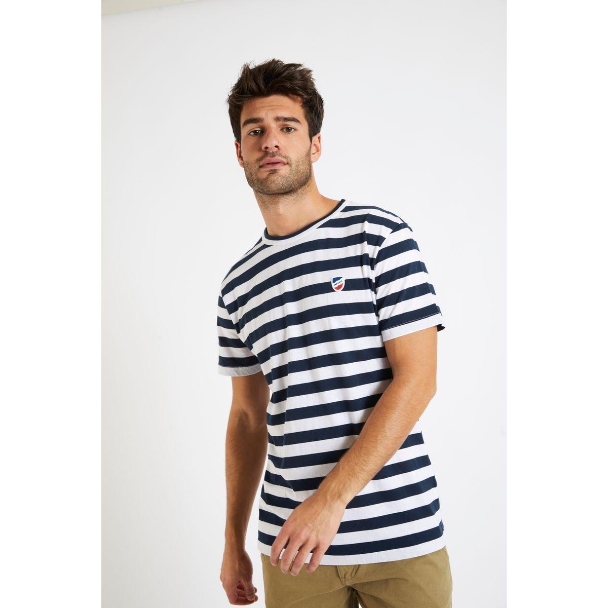 T-shirt manches courtes Marinière Marine écusson