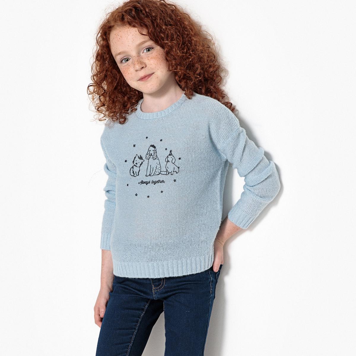 Пуловер La Redoute С рисунком собака из тонкого трикотажа 10 лет - 138 см синий цена