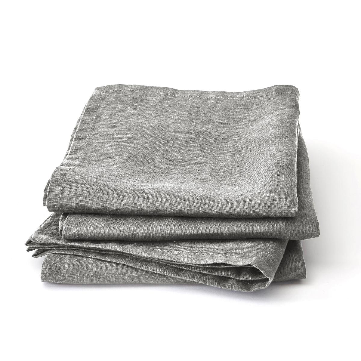 Салфетки La Redoute Из льна Linette комплект из шт комплект из 4 серый цены