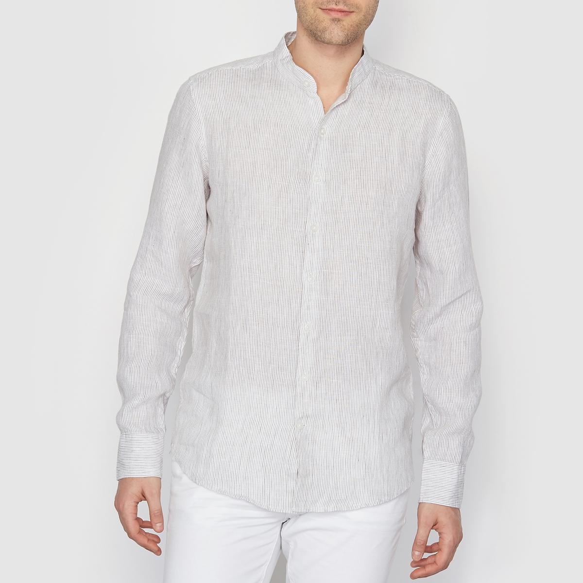 Рубашка в тонкую полоску, из 100% льнаРубашка из 100% льна, в тонкую полоску, R ESSENTIEL. Длинные рукава, манжеты с застежкой на пуговицы. Воротник-стойка (мао). Застежка на пуговицы. Рубашечный низ. Состав и описаниеМарка: R ESSENTIEL.Материал: 100% льна. УходМашинная стирка при 30°C.<br><br>Цвет: в бело-синюю полоску,в полоску белый/ бежевый<br>Размер: 37/38