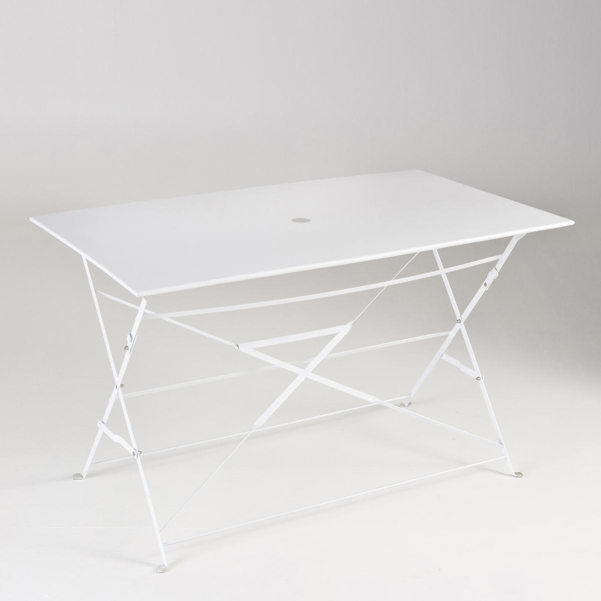 Стол прямоугольный складной из металлаХарактеристики стола из металла :Метал с ярким лакированным покрытием*.- Финальная отделка эпоксидным лаком.Центральное отверстие для зонта ?5 см.Стол продается готовым к сборке.Размеры стола из металла:Ширина: 120 смВысота: 70 смГлубина: 70 смТолщина в сложенном виде: 5 см.*Металл с антикоррозийной обработкой и покрытием эпоксидной эмалью делает этот столик  удобным  в использовании и устойчивым к ржавчине и неблагоприятным погодным условиям. Легкий, просто перемещать и хранить.Доставка:Стол продается готовым к сборке. Доставка на дом с возможностью подъёма на этаж!Внимание! Убедитесь, что товар возможно доставить на дом, учитывая его габариты (проходит в двери, по лестницам, в лифты).<br><br>Цвет: белый