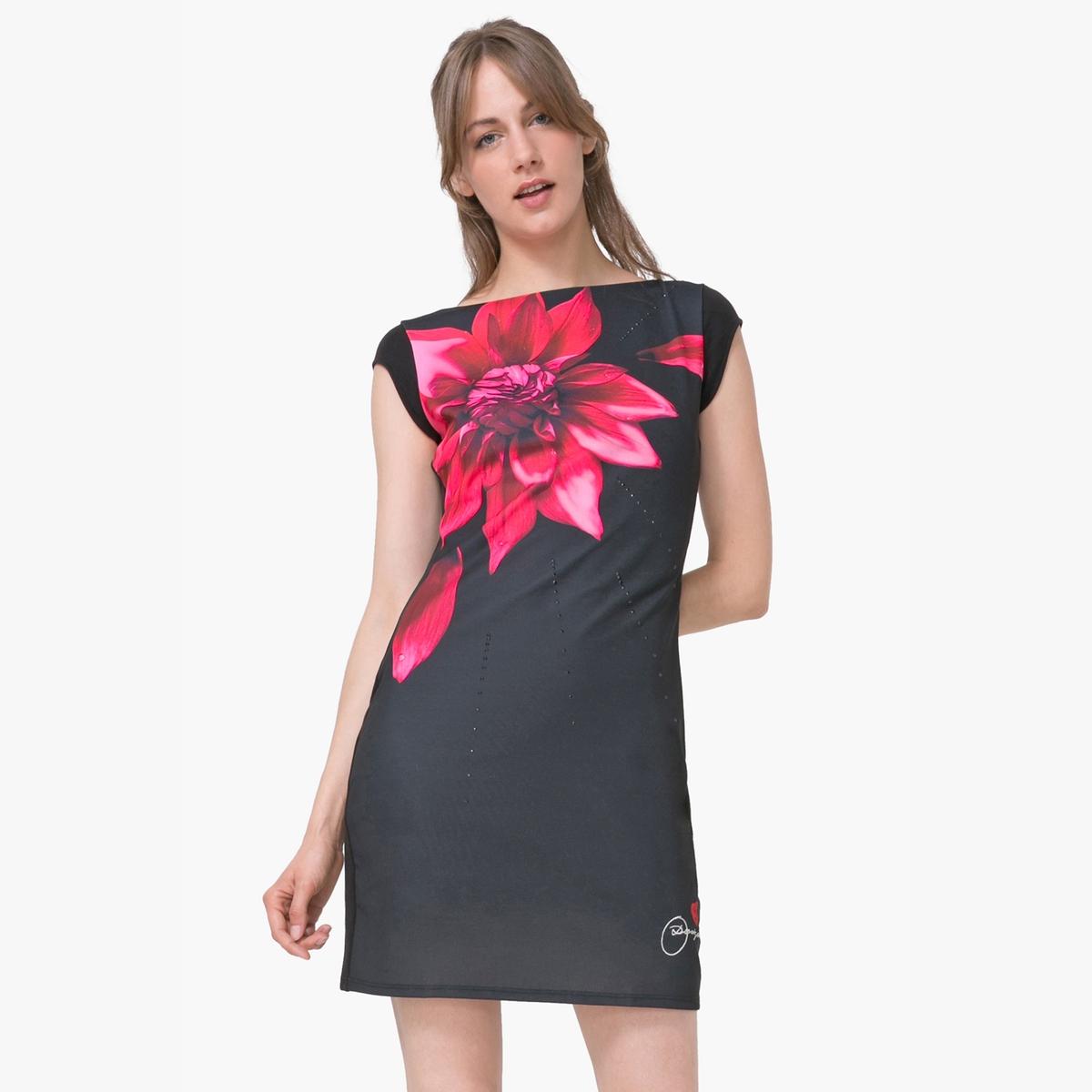 Платье с короткими рукавами и цветочным рисункомМатериал : 3% эластана, 97% полиэстера  Длина рукава : короткие рукава  Форма воротника : круглый вырез Покрой платья : платье облегающего покроя Рисунок : цветочный   Длина платья : короткое<br><br>Цвет: черный